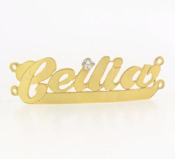 # 9703 - 14K Gold Filled Name Plate For 2 Line Bracelet - Ceilia