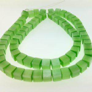 """9510 - 6mm Square Cat's Eye Beads (16"""" Strand) - Light Green"""
