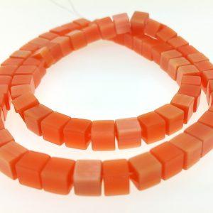 """9510 - 6mm Square Cat's Eye Beads (16"""" Strand) - Light Orange"""