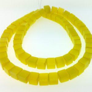 "9510 - 6mm Square Cat's Eye Beads (16"" Strand) - Light Yellow"