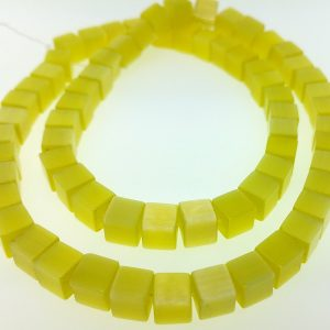 """9510 - 6mm Square Cat's Eye Beads (16"""" Strand) - Yellow"""