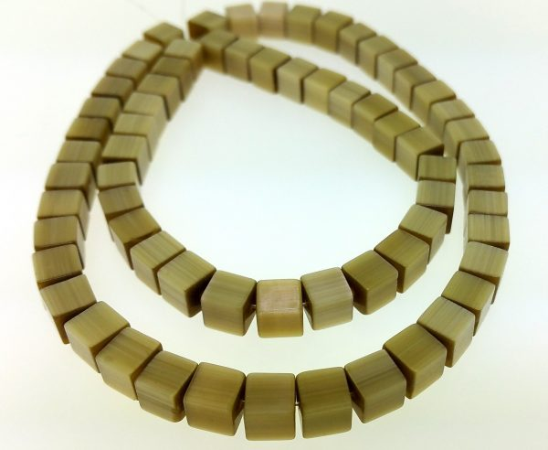 """9510 - 6mm Square Cat's Eye Beads (16"""" Strand) - Brown"""