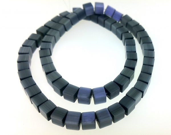 "9510 - 6mm Square Cat's Eye Beads (16"" Strand) - Black"