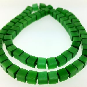 "9510 - 6mm Square Cat's Eye Beads (16"" Strand) - Green"