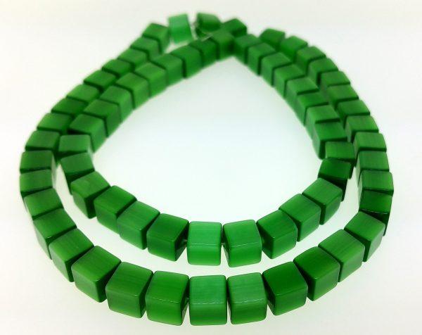 "9510 - 6mm Square Cat's Eye Beads (16"" Strand) - Green"