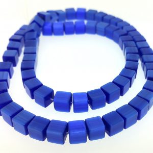 "9510 - 6mm Square Cat's Eye Beads (16"" Strand) - Sapphire"