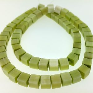 "9510 - 6mm Square Cat's Eye Beads (16"" Strand) - Lime"
