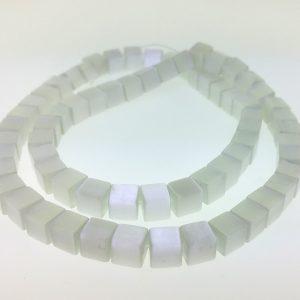 "9510 - 6mm Square Cat's Eye Beads (16"" Strand) - White"