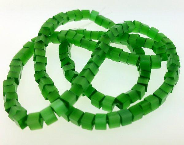 "9509 - 4mm Square Cat's Eye (16"" Strand) - Green"
