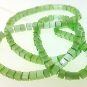 """9509 - 4mm Square Cat's Eye (16"""" Strand) - Light Green"""