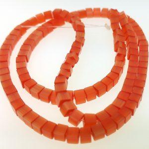 """9509 - 4mm Square Cat's Eye (16"""" Strand) - Light Orange"""