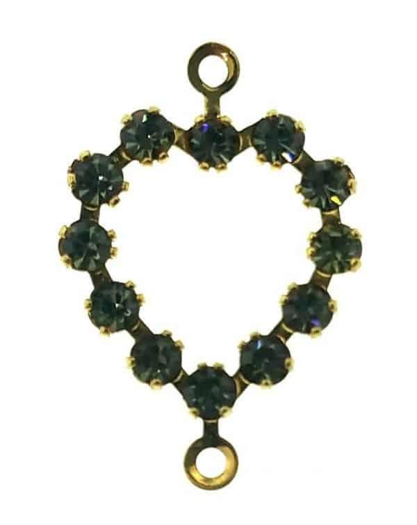 37213 - Swarovski Heart With Multi Stones - Black Diamond