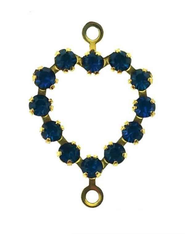 37213 - Swarovski Heart With Multi Stones - Capri Blue