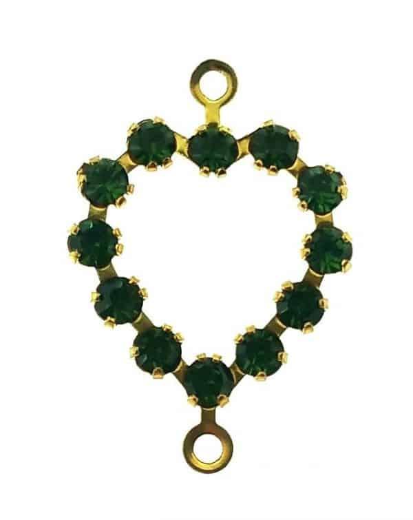 37213 - Swarovski Heart With Multi Stones - Green Turmaline