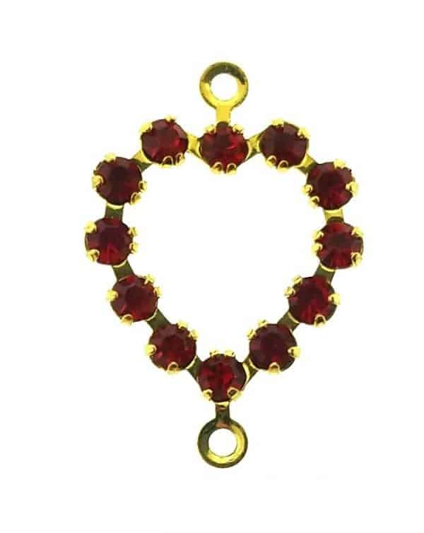 37213 - Swarovski Heart With Multi Stones - Light Siam