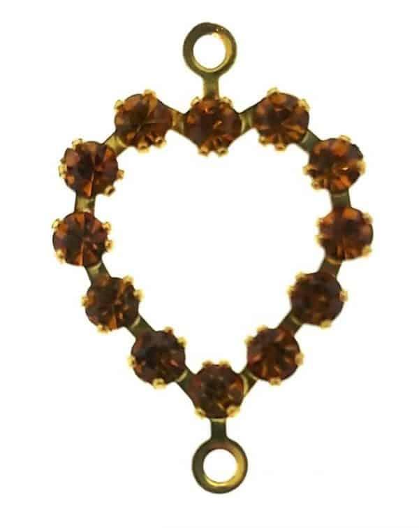 37213 - Swarovski Heart With Multi Stones - Topaz