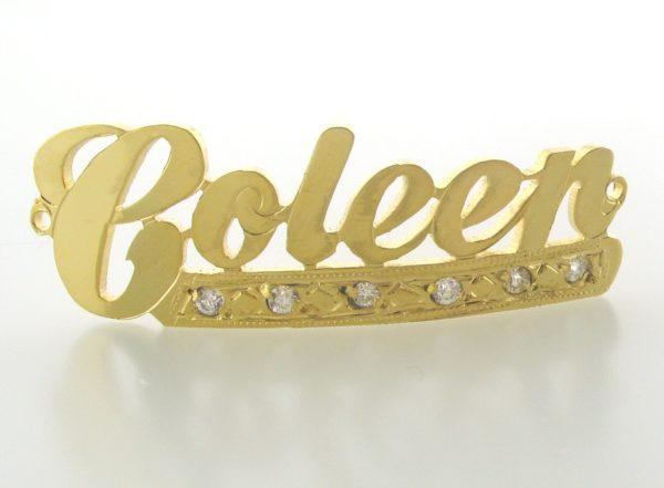 # 9721 - 14K Gold Filled Name Plate For Bracelet - Coleen