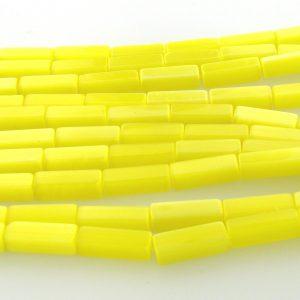 "9511 - 4x13mm Rectangle Cat's Eye Beads (16"" Strand)- Yellow"