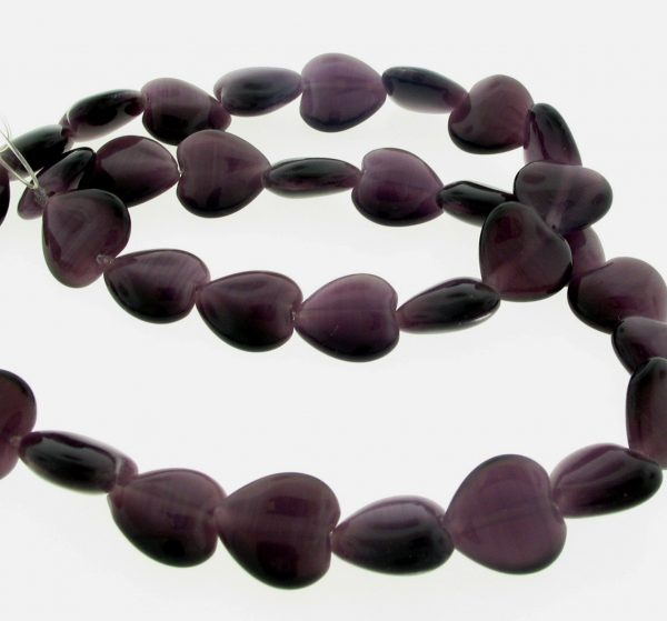 9515 - 12mm Cat's Eye Puff Hearts (16'' strand) - Amethyst