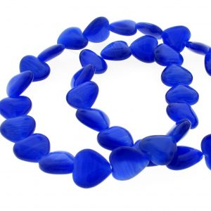 9515 - 12mm Cat's Eye Puff Hearts (16'' strand) - Sapphire