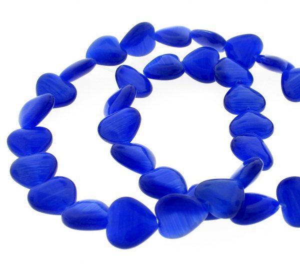 9515 - 12mm Cat's Eye Puff Hearts (16'' strand) - Sapphire