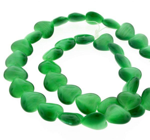 9515 - 12mm Cat's Eye Puff Hearts (16'' strand) - Green