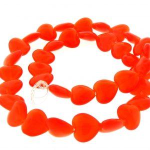 9515 - 12mm Cat's Eye Puff Hearts (16' strand) - Orange