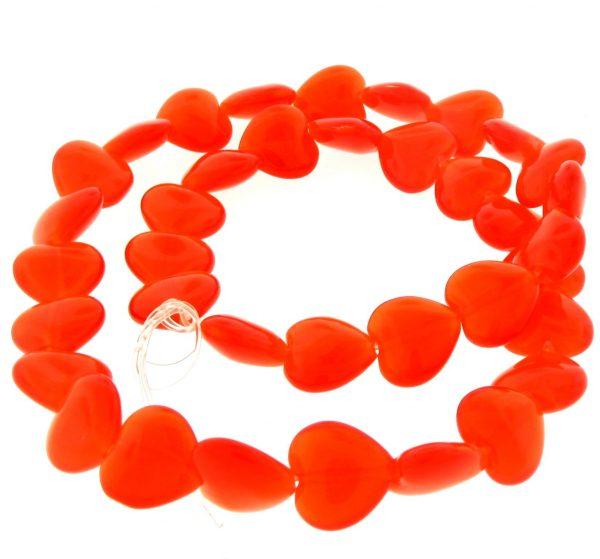 9515 - 12mm Cat's Eye Puff Hearts (16'' strand) - Orange