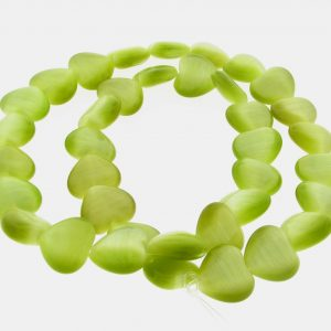 9515 - 12mm Cat's Eye Puff Hearts (16'' strand) - Olivine