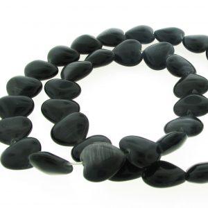 9515 - 12mm Cat's Eye Puff Hearts (16' strand) - Black