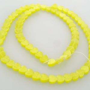 "9514 - 6mm Cat's Eye Puff Hearts (16"" strand) - Yellow"