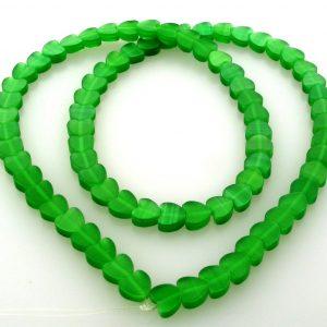 "9514 - 6mm Cat's Eye Puff Hearts (16"" strand) - Green"