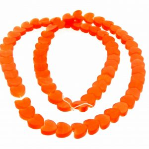 "9514 - 6mm Cat's Eye Puff Hearts (16"" strand) - Orange"