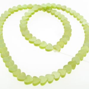 "9514 - 6mm Cat's Eye Puff Hearts (16"" strand) - Olivine"