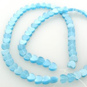 "9514 - 6mm Cat's Eye Puff Hearts (16"" strand) - Turquoise"