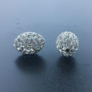 4228 - 10x15mm Shamballa Oval Bead - Crystal AB