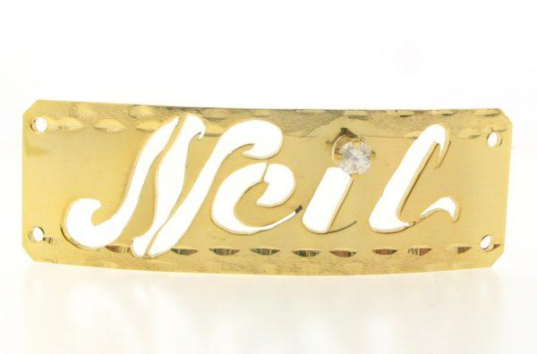 # 9750 - 14K Gold Filled Name Plate For 2 Line Bracelet - Neil