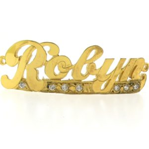 # 9765 - 14K Gold Filled Name Plate For Bracelet - Robyn