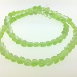 "9516 - 6mm Cat's Eye Puff Heart (16"" strand) - Light Green"