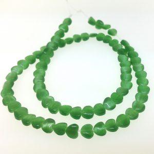"9516 - 6mm Cat's Eye Puff Heart (16"" strand) - Green"