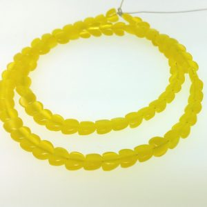 "9516 - 6mm Cat's Eye Puff Heart (16"" strand) - Yellow"