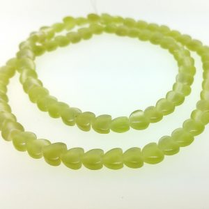 "9516 - 6mm Cat's Eye Puff Heart (16"" strand) - Lime"