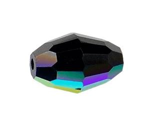 5200 - 12x8mm Swarovski Crystal Oval Bead - Jet AB