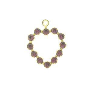 37212 - Swarovski Multi Stone Heart - Amethyst