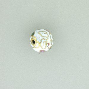 6010C - 10mm Round Cloisonne Bead - White