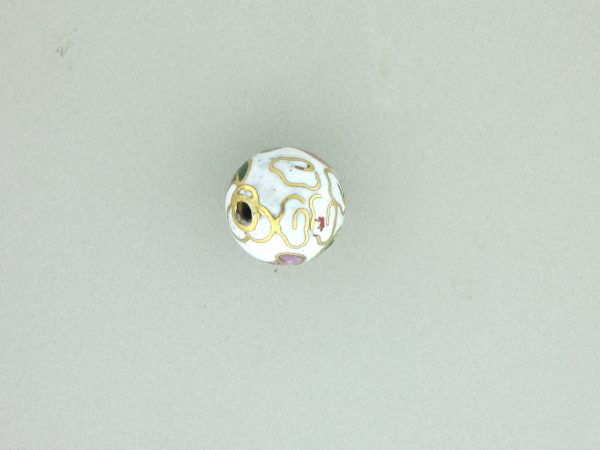 6010C - 10mm Round Cloisonne Bead - White
