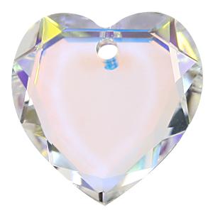 6225 - 10mm Swarovski Flat Heart Pendant - Crystal AB