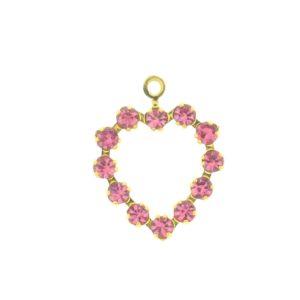 37212 - Swarovski Multi Stone Heart - Rose