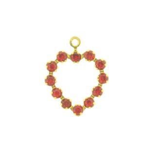 37212 - Swarovski Multi Stone Heart - Light Siam