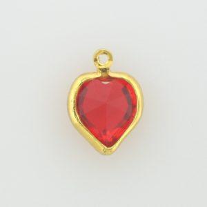 #52200 - 10 mm Swarovski Gold Plated Heart  - Light Siam